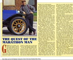 The story on Barry Walker and marathon motor works history in winter 1993 in Automobile Quarterly Book volume number Marathon Motors, Custom Consoles, Motor Works, Automobile, Number 2, The Originals, History, Book, Winter