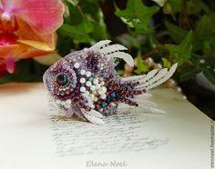 Купить Красавица морская Рыбка брошь вышивка бисером - рыбка, рыбка брошь, вышитые рыбки