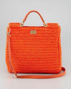 Dolce & Gabbana New Miss Sicily Crochet Tote Bag, Orange - Neiman Marcus Bag Crochet, Crochet Handbags, Crochet Purses, Dolce And Gabbana Handbags, Orange Bag, Shopper, Printed Bags, Crochet Accessories, Handmade Bags