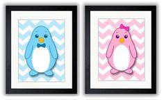 Cute Couple of Penguins Penguin Nursery Art by KidsNurseryArt