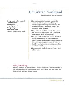 Miss Kay's Duck Commander Kitchen: Faith, Family, and Food--Bringing Our ... - Kay Robertson - Google Books. Hot Water Cornbread