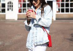 Oversized Denim/ white jeans/ red bag