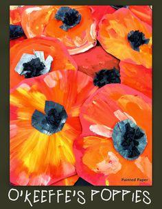 Georgia O'Keeffe's Poppies – Painted Paper Art First Grade Art, 2nd Grade Art, Remembrance Day Art, Georgia O'keeffe, Ecole Art, School Art Projects, Spring Art Projects, Spring Crafts, Art Lessons Elementary