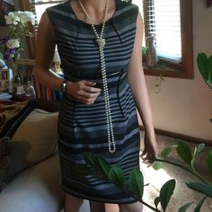 Beautiful Calvin Klein Classy dress.  Wear to work or special event.  Gray and black stripes.  Long back zipper.  Pleated front with black slim belt.  You will love this dress! Calvin Klein Dresses