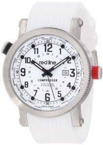 red line Men's RL-18003-02BB-WH Compressor World Time White Dial White Silicone Watch Red Line. $59.99. Quartz movement. White dial with black and white hands, black Arabic numerals and second hand; luminous; stainless steel coin edge bezel; rotating inner bezel with world function; stainless steel crown with red accent. Date function at 3:00. Mineral crystal; stainless steel case; white silicone strap. Water-resistant to 100 M (330 feet). Save 89%!