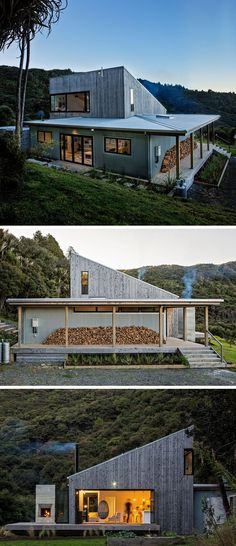 This modern house uses locally sourced wood and galvanized corrugated iron for the exterior materials. : This modern house uses locally sourced wood and galvanized corrugated iron for the exterior materials. Architectural Design Studio, Casas Containers, Rural House, Modern House Design, Cabana, Exterior Design, Modern Exterior, Gray Exterior, Roof Design