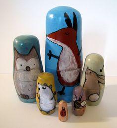 Etsy Woodland Nursery Nesting Dolls, Hand Painted Whimsical Animal Art Dolls