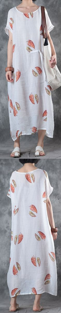 Elegant white linen knee dress trendy plus size linen clothing dresses top quality o neck prints dresses4