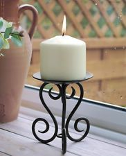 Black Ornate Scroll Wrought Iron Metal Church Pillar Candle Holder Stand