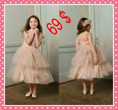 Wholesale Pageant Dresses for Girls - Buy DN Vintage Europe Wedding Flowers Girls Dresses Tulle Zipper Strapless Flowers Tea-Length Pageant Little Girls Gowns Cascading Ruffles, $54.05 | DHgate