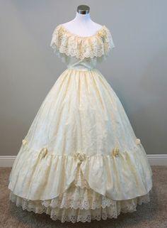 """Ivory Ball Gown (waist - 26"""") — Civil War Ball Gowns & Southern Belle Dresses"""