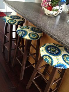 Spray painted old wood bar stools with a glossy paint and mod podge then covered & Easy Bar Stool Makeover | Bar stool makeover Bar stool and Stools islam-shia.org