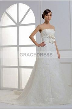 Buy A-line Court Train Strapless Lace A line Wedding Dresses A0138 With Quality Guarantee, 7 Days Return Polciy And Free Shipping to UK.