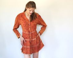 vintage 70s boho indian dress / S  M  L / by Luncheonettevintage