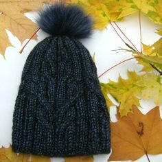 """Stylish winter hat """"Flocart"""" blue Stylish and original hat. Handmade, seamlessy knitted, blue with a bubo of natural dyed fur. Stylish Hats, Handicraft, Mittens, Showroom, Knitted Hats, Knitwear, Winter Hats, Fur, Knitting"""