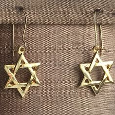 Star of David Earrings Star of David 12 Karat 1/20th yellow Gold filled kidney hook style dangle earrings. Each Star is approximately the size of a penny. Jewelry Earrings