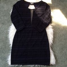 NWT Navy and black Aztec Pattern dress. New with tags. Navy with black velvet. Bodycon style. Black mesh cutout. Open back with criss cross. Back zipper. Love this dress. Just doesn't fit my ginormous behind. Charlotte Russe Dresses