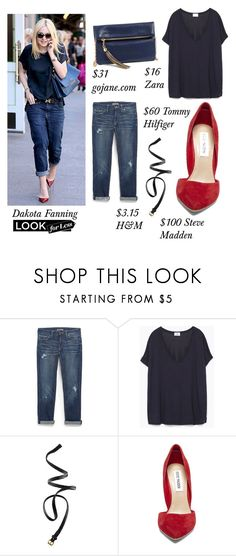 """Look for Less: Dakota Fanning"" by heyyoumofo ❤ liked on Polyvore featuring Tommy Hilfiger, Zara, H&M, Steve Madden, LookForLess, StreetStyle and DakotaFanning"