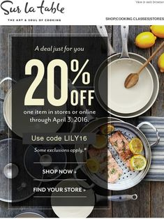 Surprise! Here's a special discount just for you - Sur la Table