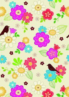 Scrapbook paper - flowers and bird design (cliquer au dessus de l'image pour ouvrir PDF)