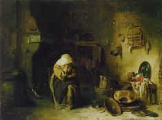 Willem Kalf - Old Woman in a Kitchen