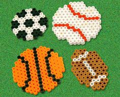 Decorate your school locker, your fridge, anything that is metal with these cool sports balls you create with Perler beads. Make your favorite: football, basketball, baseball, or soccer, or make them all if you love all sports!:
