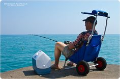 Bring accessories and fishing gear to the beach easily with a folding beach chair cart. The beach chair cart folds between uses for compact storage in a vehicle trunk or back seat. Beach Fishing Cart, Beach Cart, Fishing Chair, Surf Fishing, Fishing Tips, Fishing Trolley, Fishing Stuff, Folding Beach Chair, Folding Camping Chairs