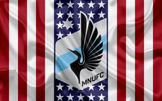 Download wallpapers Minnesota United FC, 4k, logo, emblem, silk texture, American flag, football club, MLS, Minneapolis, Minnesota, USA, Major League Soccer, Western conference