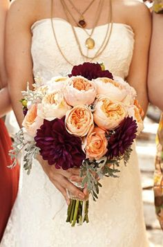 Burgundy Peach Bouquet Design by http://www.sweetsundayevents.com/