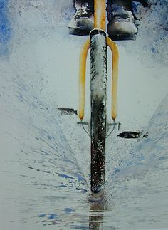 Watercolor by Erna de Backer. This perspective is awesome!