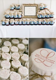 jam wedding favors. Could order custom rubber stamp off etsy, stamp onto muslin or burlap with stazeon. Use same stamp for inside lid label