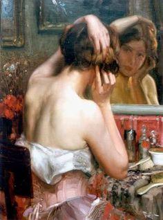 Fernand Toussaint (1873-1956) - Jonge vrouw aan de toilettafel