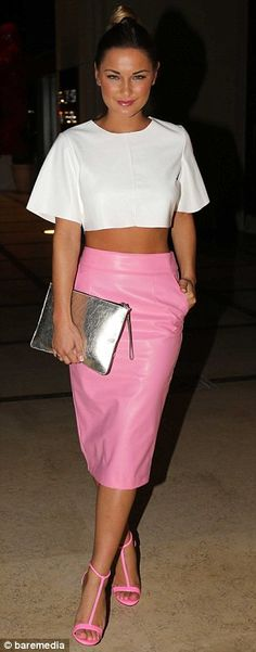 Looking good: Sam Faiers shows off her golden tan after arriving in a white crop top and neon pink pencil skirt, matched with strappy heels and large silver handbag