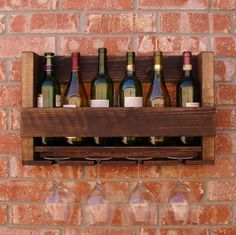 READY+TO+SHIP+Rustic+Wine+Rack+Holds+6+Bottles+w/+4+por+KeoDecor,+$50,00