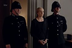Anna is arrested at Grantham House for the murder of Green, because Inspector Vyner couldn't investigate his way out of a wet paper bag.
