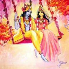 Radha Krishna on Swing by madhavi_tuli Krishna Leela, Jai Shree Krishna, Cute Krishna, Radha Krishna Photo, Krishna Radha, Hanuman, Durga, Lord Krishna Wallpapers, Radha Krishna Wallpaper