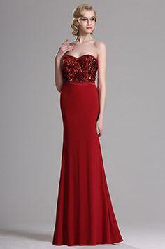 Robe de Soirée Sans Bretelle Bustier Aux Paillettes Rouge #edressit #robe #nouveauté #soirée #bijoux #dentelle #broderie #printemps #remise #solde #femme #mode #branché #sexy #élégant #cadeau #rendez-vous #formel