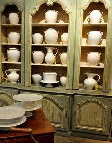 Dish Display, China Display, Armoire, Green Cabinets, China Cabinets, Cupboards, Display Cabinets, Kitchen Hutch, Loft Kitchen