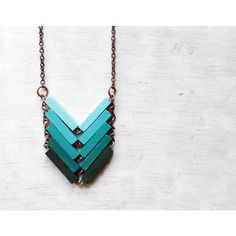 Mint Turquoise Hand-Painted Necklace ❤ liked on Polyvore featuring jewelry, necklaces, chain necklace, lock necklace, turquoise necklace, geometric necklace and blue turquoise necklace