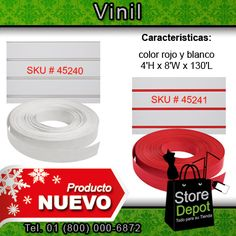 #Vinil de color rojo y blanco. Un producto nuevo ideal para las ventas en tu #negocio