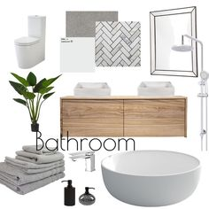 View this Interior Design Mood Board and more designs by Toriwriter on Style Sourcebook Interior Design Boards, Mood Board Interior, Home Design, Interior Design Presentation, Relaxing Bathroom, Bathroom Design Luxury, Bathroom Layout, Living Room Modern, Interiores Design