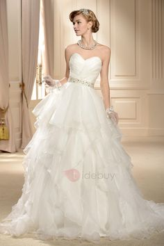#TideBuy - #TideBuy Gorgeous Ball Gown Sweetheart Tiered Beaded Wedding Dress - AdoreWe.com
