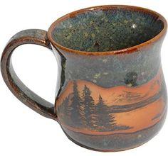 AmazonSmile | Mountain Scene Mug in Seamist Glaze: Coffee Cups & Mugs Best Coffee Mugs, Coffee And Books, Coffee Cups, Pottery Mugs, Ceramic Pottery, Pour Over Coffee Maker, Mug Tree, Green Mugs, Mugs For Men