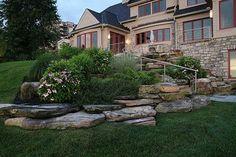 Hillside planting & natural stone boulder outcropping - traditional - landscape - cleveland - Greensource design/build - Bob Oster designs