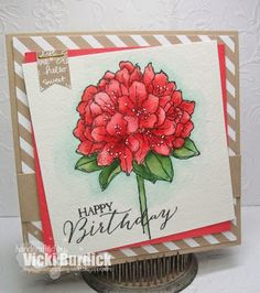 Happy Birthday handmade card, Best Thoughts Stamp, stamped the flower image onto some water color paper with Black Stazon ink. I then colored with my aqua painter and ink pads. I used the new Watermelon Wonder and Garden Green for the leaves.  I shaded around the flower image using some Soft Sky ink