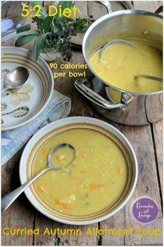 Diet Curried Autumn Allotment Soup: 90 Calories a Bowl Low Calorie Vegetable Soup, Low Calorie Vegetables, Low Calorie Recipes, Diet Recipes, Cooking Recipes, Healthy Recipes, Recipies, Healthy Soups, Soup Recipes