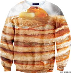 sexy sweaters pancakes pic on Design You Trust Beige Shirt, Beige Sweater, Ugly Sweater, Weird Food, Crazy Food, Beige Top, Weird Fashion, Pullover, Pulls