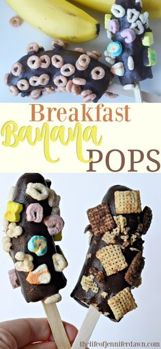 Popsicles for breakfast? Why not?! These frozen banana pops coated in chocolate and General Mills gluten free cereal  make a delicious brea...