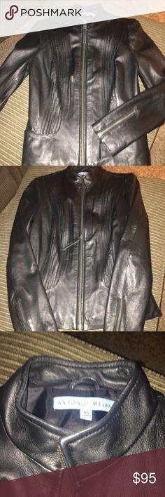 Antonio Melani Black Leather Jacket Antonio Melani Black Leather Jacket- New never worn gorgeous jacket!!! Size XS ANTONIO MELANI Jackets & Coats