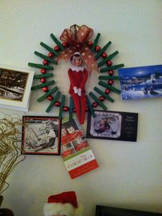 Clothes Pin Christmas Card Holder Wreath.... AND THEREu0027S AN ELF!